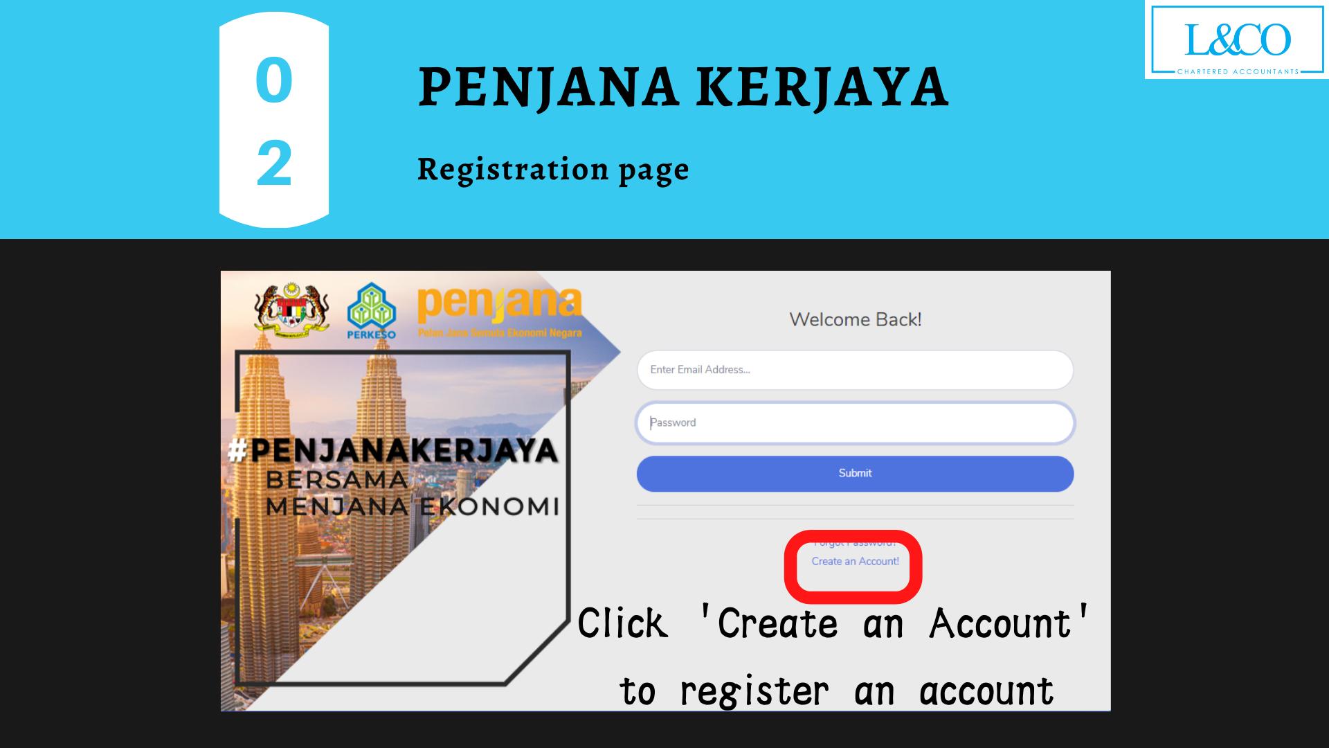 Penjana Kerjaya create account