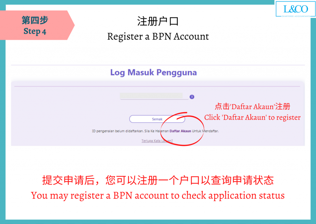 Register a BPN account to check application status
